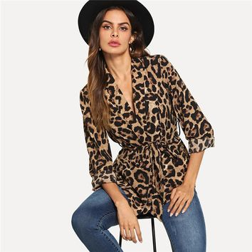 Multicolor Highstreet Office Lady Shawl Collar Belted Leopard Print Elegant Blazer Workwear Women Outerwear