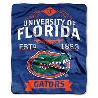 Florida Gators NCAA Royal Plush Raschel Blanket (Label Series) (50x60)