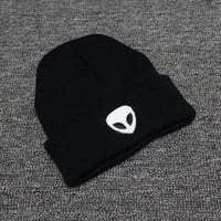 Autumn Winter Knitted Beanie Womens & Mens Alien Embroidery Wool Cap Solid Black Colored Cuffed Skully Hat