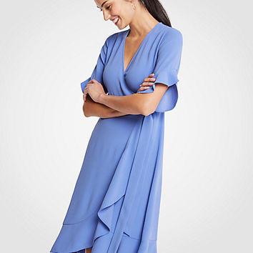 Flounce Hem Wrap Dress | Ann Taylor