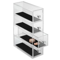 InterDesign Clarity Vanity Jewelry Organizer, 4-Drawer Tower, Clear/Black