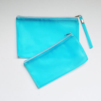 Turquoise Plastic Translucent Transparent Zipper Pouch Purse,Pencil Case,Nail Polish Storage Bag,Cosmetic Bag,Makeup Bag,Vanity Beauty Bag