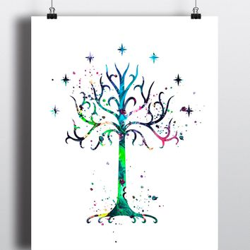 Tree of Gondor Watercolor Art Print - Unframed