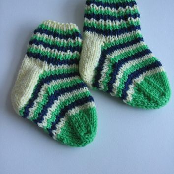 ON SALE - Hand Knit Baby Socks Emerald Green and Navy Stripes