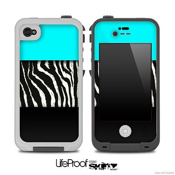 Three-Toned Turquoise Zebra Print Skin for the iPhone 5 or 4/4s LifeProof Case