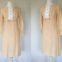 1960s gingham dress, yellow long sleeve shift dress, summer sun dress, cotton dress, small to medium dress, US 6 to 8