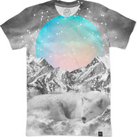 Put Your Thoughts To Sleep (Peaceful Moon / Wolf Spirit) Men's T-Shirts by Soaring Anchor Designs | Nuvango