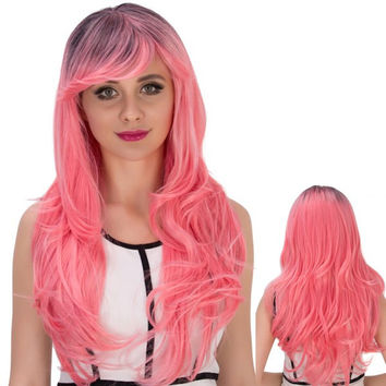 Long Side Bang Wavy Pink Gradient Cosplay Synthetic Wig