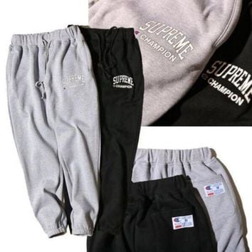 DCCKNQ2 Champion x Supreme Drawstring Fashion Print Pants Trousers Sweatpants