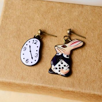 Alice in Wonderland Mismatch Clock Rabbit Stud Earrings