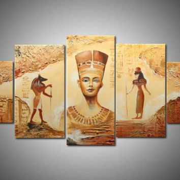Handmade 5 Piece Egyptian Contemporary Abstract Decorative Oil Painting On Canvas Wall Art  Picture For Living Room