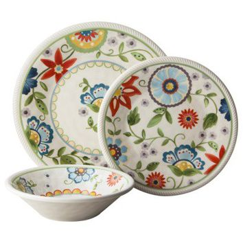 Threshold™ 12 Piece Roped Vasaio Floral Dinnerware Set