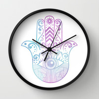 Hamsa Hand Purple and Blue Watercolor Wall Clock by Cute To Boot