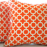 Pillow cover Mandarin orange geometric 20 x 20