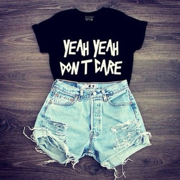 S/M/L 2015 new sexy hot black white color summer clothing cropped women girls lettter printed tops funny t shirts punk fashion (Size: M, Color: Black) = 1956721796
