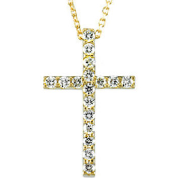 "14K Yellow 1/4 CTW Petite Diamond Cross 18"" Necklace"