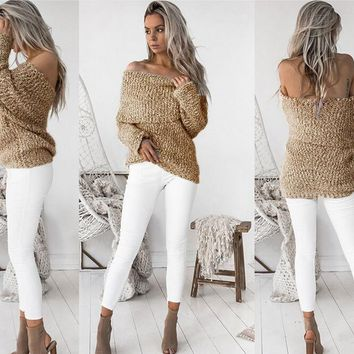 Womens Off Shoulder Knitted Sweater  +Gift Necklace