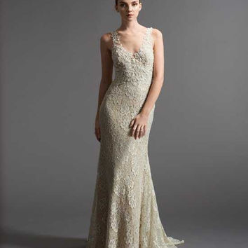 Watters 6012B Lace V-Neck Bridal Gown
