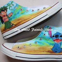 Hand drawn shoes Lilo and Stitch Design Converse Custom Anime Shoes Hand Painted Shoes High Top Converse Anime Converse Birthday Gifts