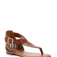 Tan Trimmed In Gold Sandals