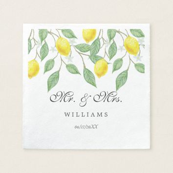 Modern Boho Watercolor Lemon Summer Wedding Paper Napkin