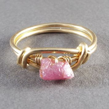 Raw Ruby SIZE 6 Wire Wrapped Ring Gold