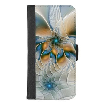 Soaring, Abstract Fantasy Fractal Art With Blue iPhone 8/7 Plus Wallet Case