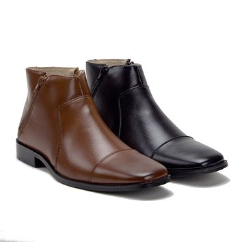 New Men's 49904 Leather Lined Double Zip Cap Toe Ankle Boots