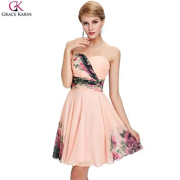 Short Prom Dresses 2017 Grace Karin Strapless Floral Print Pattern Empire Robe De Soiree Courte Chiffon Knee Length Formal Dress