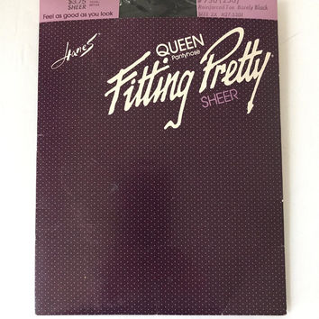 DEADSTOCK Hanes FITTING PRETTY Pantyhose / Sheer Black / 2X Queen Size / Reinforced Toe / Plus Size Nylon Stockings Tights / New In Package