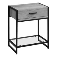 "Accent Table - 22""H / Grey / Black Metal / Tempered Glass"