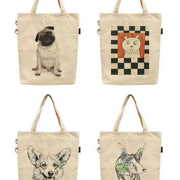 Women Dogs Printed Canvas Tote Shoulder Bag WAS_40