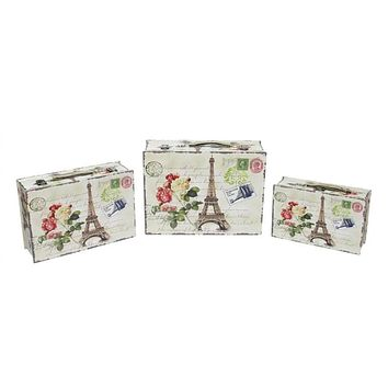 Set of 3 Eiffel Tower  Paris and Flowers Vintage-Style Decorative Wooden Storage Boxes 16""