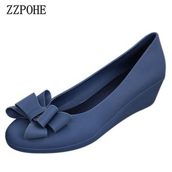 ZZPOHE spring autumn new women fashion mid heels woman  wedge single shoes Women Work Pumps Shoes  free shipping