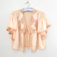 Vintage 1930s - 40s Pink Silk and Lace Angel Sleeve Bed Jacket - Butterfly Sleeve Boudoir Lingerie - Size Small to Large