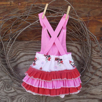 Baby Girl Pink ruffled romper, Minnie Print with red and pink,  knot ties size 9 to 12 months