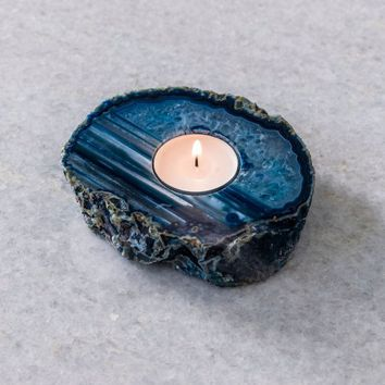 Agate Teal Tea Light Holder