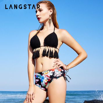 LANGSTAR Beads Fringe Bikini Sexy knitted Halter Tassel Swimwear Women Swimsuit Swimwear Biquni Backless Padded Bathing Suit