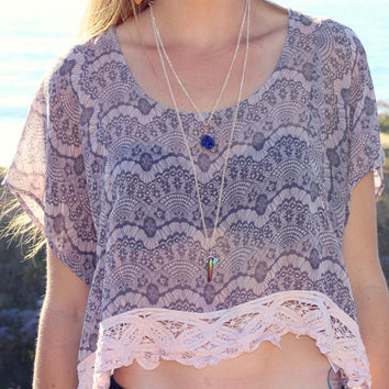 Peach + Gray Sheer Lace Crop Fringe Crop Top // Boho Clothing // Vintage Bohemian Pastel Boxy Top
