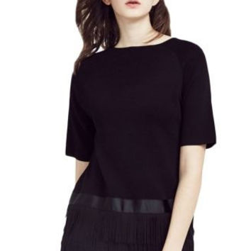 Black Short Sleeve Fringed Hem Blouse