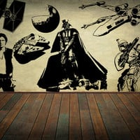 Star Wars Wall Decal Set Wall Decor Vader Sticker Home Decor Kids Children Room Nursery Decal CHOOSE Your SIZE!