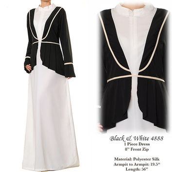 Black & White Faux Vest Pleated Peplum Light Summer Abaya Long Sleeved Maxi Dress - Free Size S/M 4888 FREE SHIPPING!