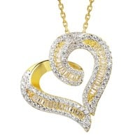 14k Gold Finish Twisted Open Heart Pendant Valentine's