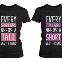 BFF Matching Black T-Shirts for Female Friendship