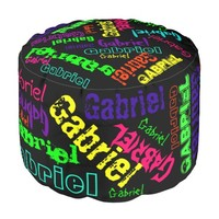 """Black Pouf """"Name Collage"""" in Bright Colors"""