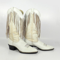 Acme Cowboy Boots Vintage 1980s Leather Fringe White Women's size 6 1/2