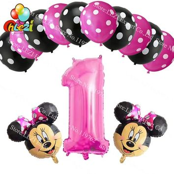 13pcs Baby shower Number 1 year Balloons Minnie Mickey Birthday Party Decor Supplies Polka dot latex balloon Kids Toys Pink Blue