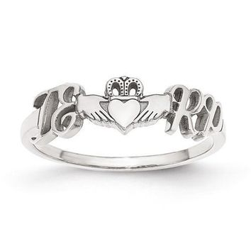 Personalized Initials And Heart Claddagh Ring - Sterling Silver or Solid Gold