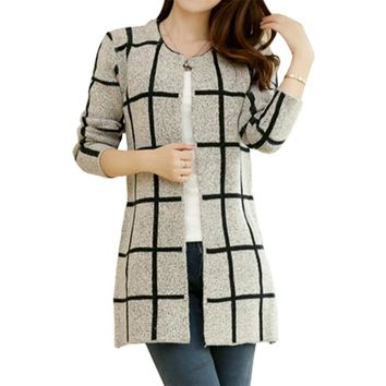 Spring Autumn Long Coat Winter Sweater Women New Korean Loose Big Yards Thin Plaid Knit Cardigan Female Vestidos LXJ253