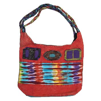 P- 34 1AK Patchwork Cotton Knitted Tie Dye Shoulder Bohemian Gypsy Tote Bag Purse